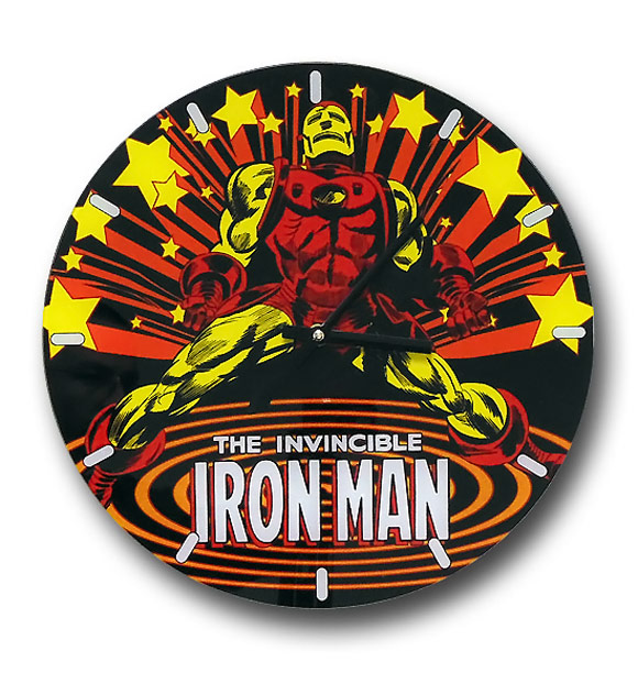 Iron Man Retro Stars Glass Wall Clock