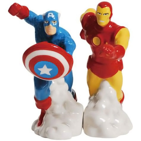 Iron Man and Captain America Salt and Pepper Shakers