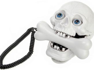Jumping Eyes Skull Phone with Bone Headset