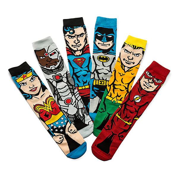 Justice League 6-Pack Men's Crew Sock Set
