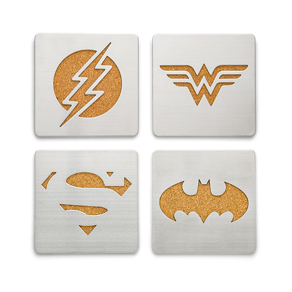 Justice League Laser-Cut Metal Coasters