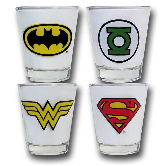Justice League Symbol Shot Glass Set