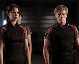 Katniss and Peeta in training shirts