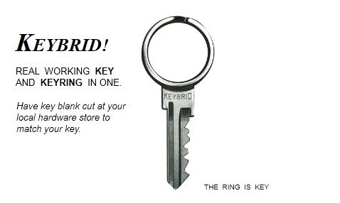 Keybrid House Key and Keyring In One