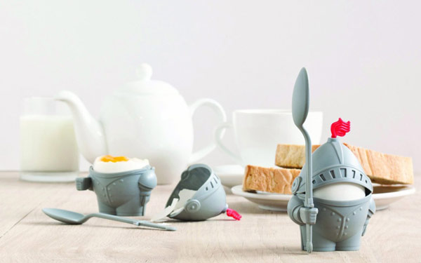 Knight Arthur Boiled Egg Cup Holder with Eating Spoon