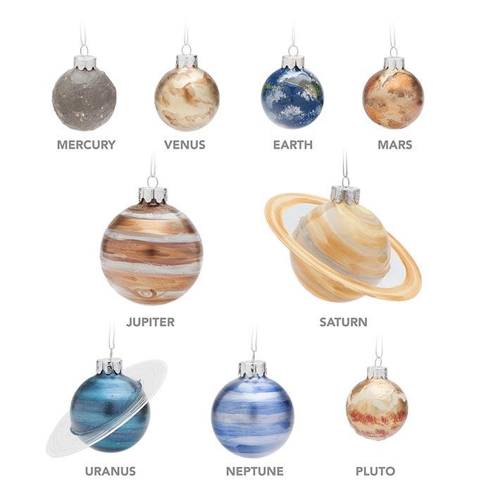 Planetary Glass Christmas Ornament Set