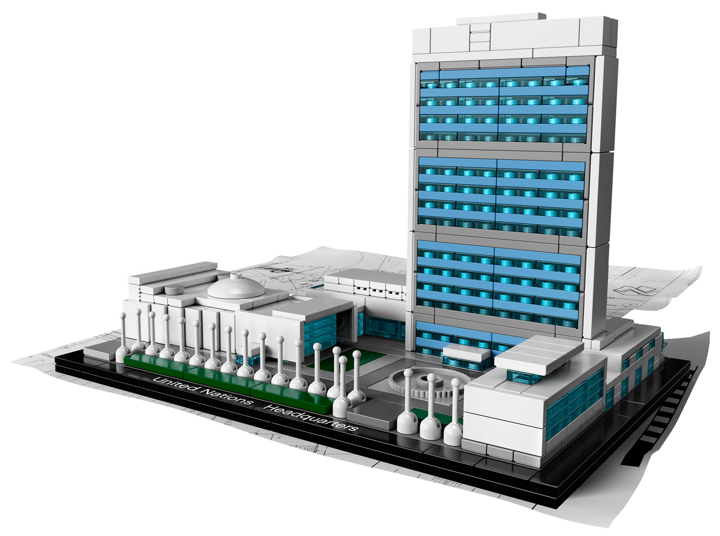 Lego architecture united nations headquarters for Architecture lego