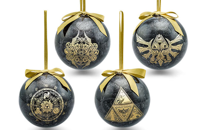 NEW 2017 Zelda Ornament Set of 4 Black and Gold Christmas Decorations