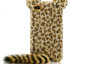 Leopard Hair Soft Fur Long Tail Case for iPhone 4 4g 4s
