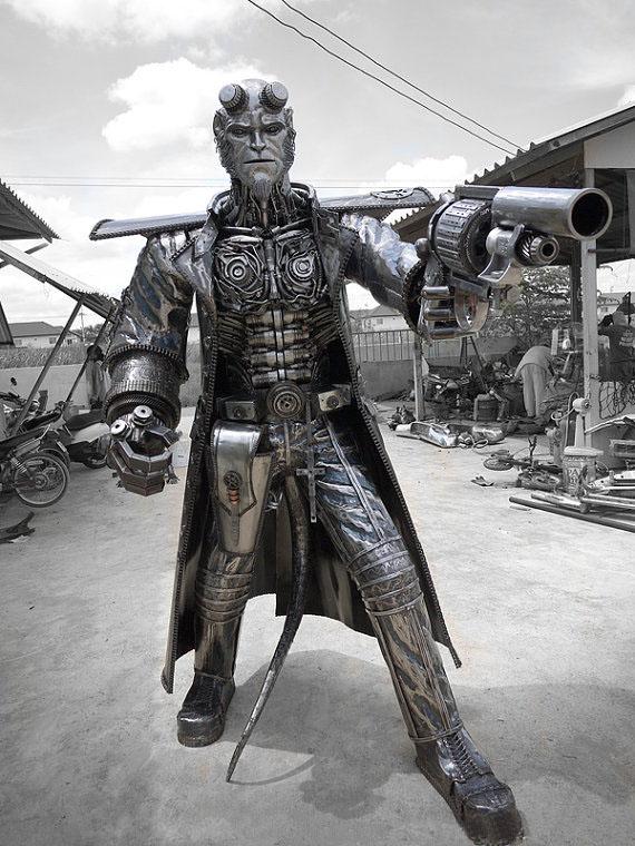 Life SIzed Metal Hellboy Sculpture