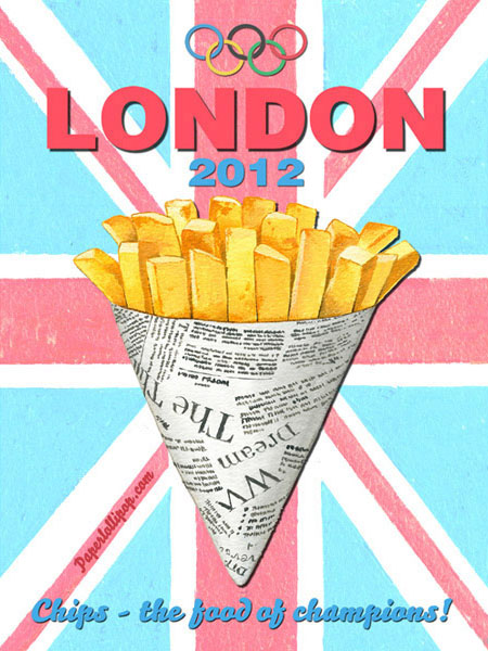 London 2012 Olympics Chips Metal Sign