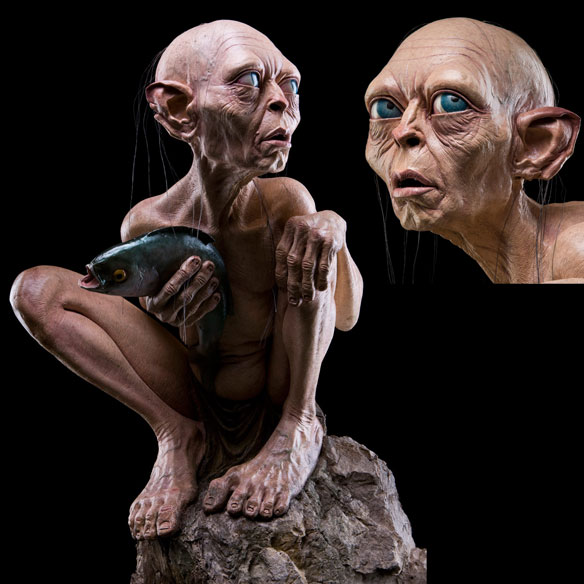 Lord of the Rings Gollum on a Rock Life Size Statue
