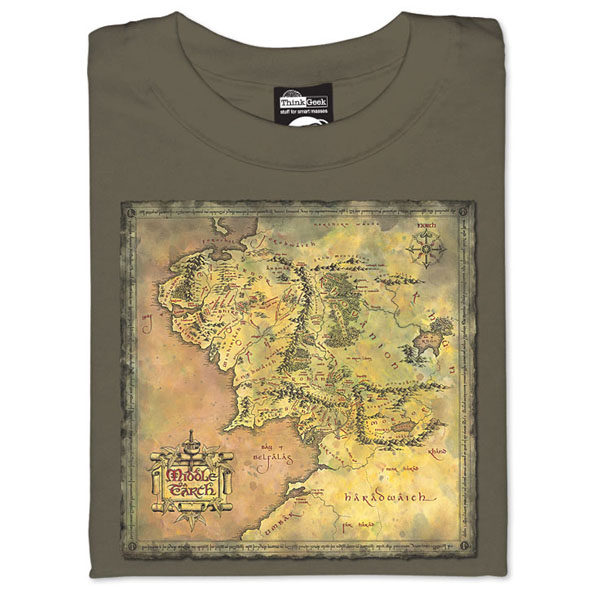 Lord of the Rings Map of Middle EarthT-Shirt