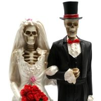 Love Never Dies - Bride and Groom Cake Toppers