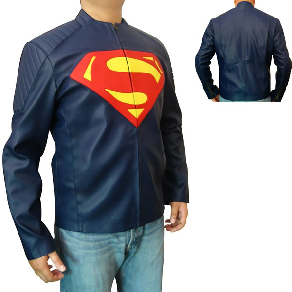 man of steel blue leather jacket