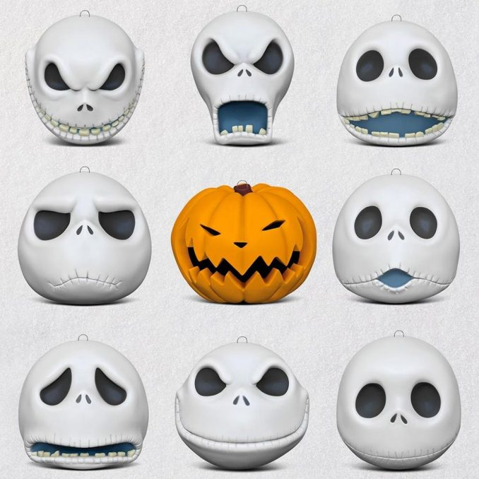 Many Faces of Jack Skellington Porcelain Ornaments