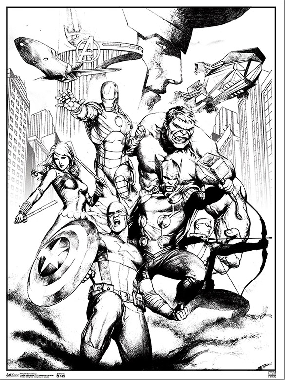 Marvel Avengers Coloring Poster