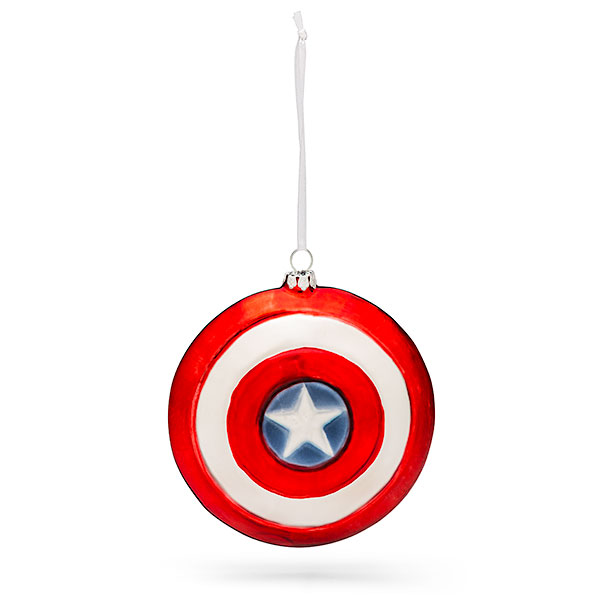 Marvel Captain America Shield Blown Glass Ornament