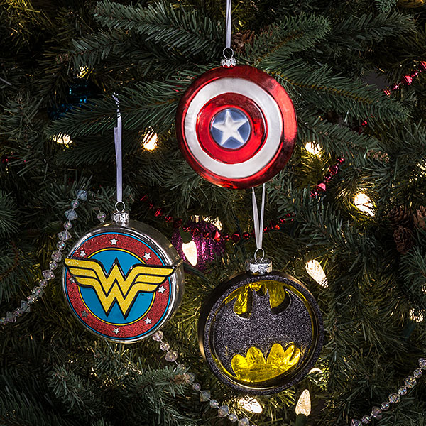 Marvel Captain America Shield Blown Glass Ornament