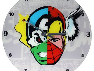 Marvel Comics Mixed Character Faces 13 3 4-Inch Glass Clock