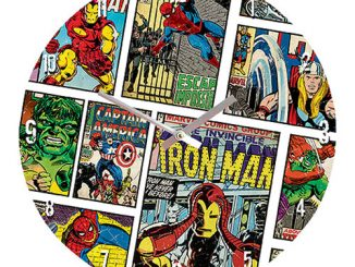 Marvel Comics Mixed Characters 13 3 4-Inch Glass Clock