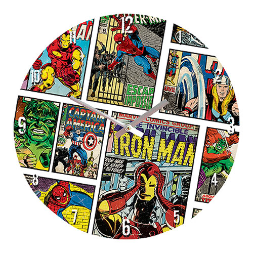Marvel Comics Mixed Characters 13 3 4-Inch Glass Clock