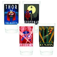 Marvel Comics Retro Art Deco Poster Pint Glass Set