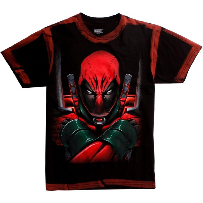 Marvel Deadpool Big Face Red Wash T-Shirt