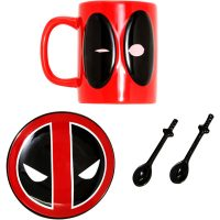 Marvel Deadpool Mug with Spoons and Coaster