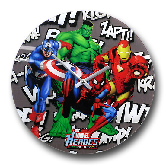 Marvel Heroes Background Noise Glass Clock