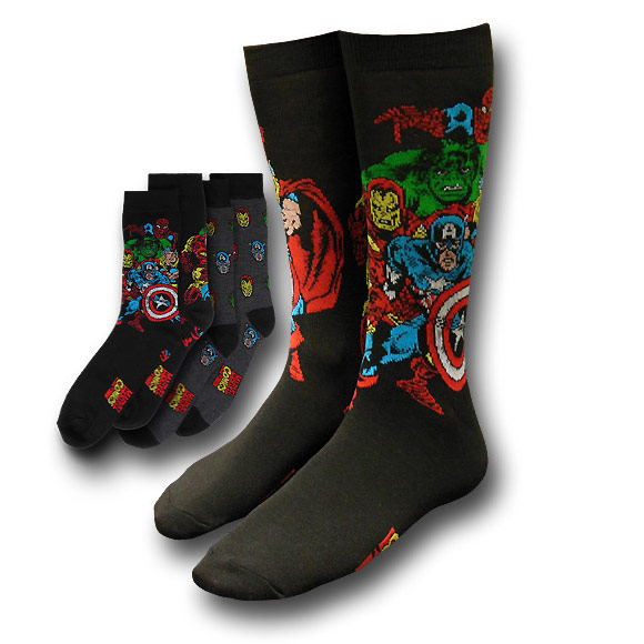 Marvel Heroes Collage and Mini Heads Socks