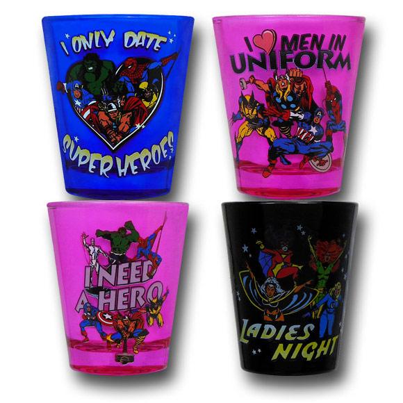 Marvel Ladies Colored Shot Glass Set