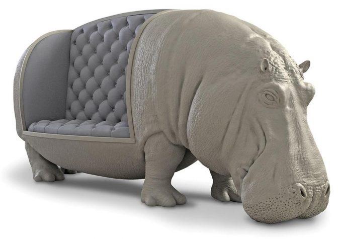Maximo Riera Life Size Hippo Sofa