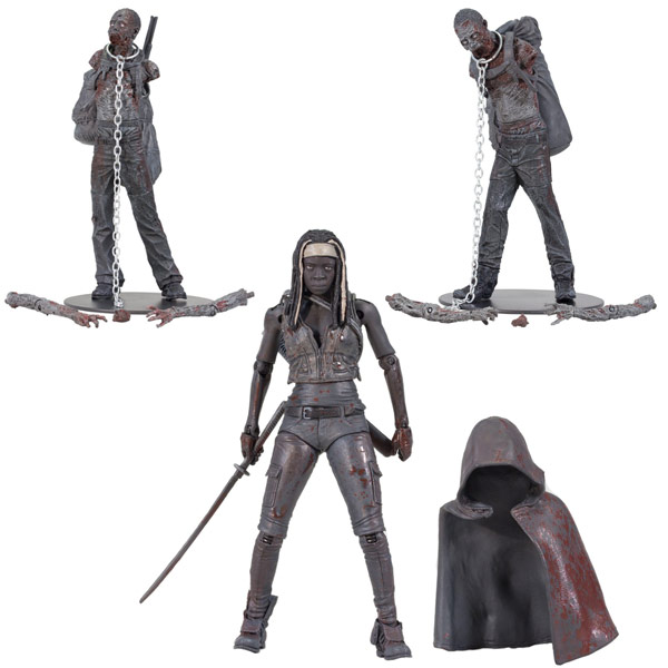 McFarlane Toys The Walking Dead TV Series 3 Bloody Black and White Michonne and Pet Zombie Action Figure
