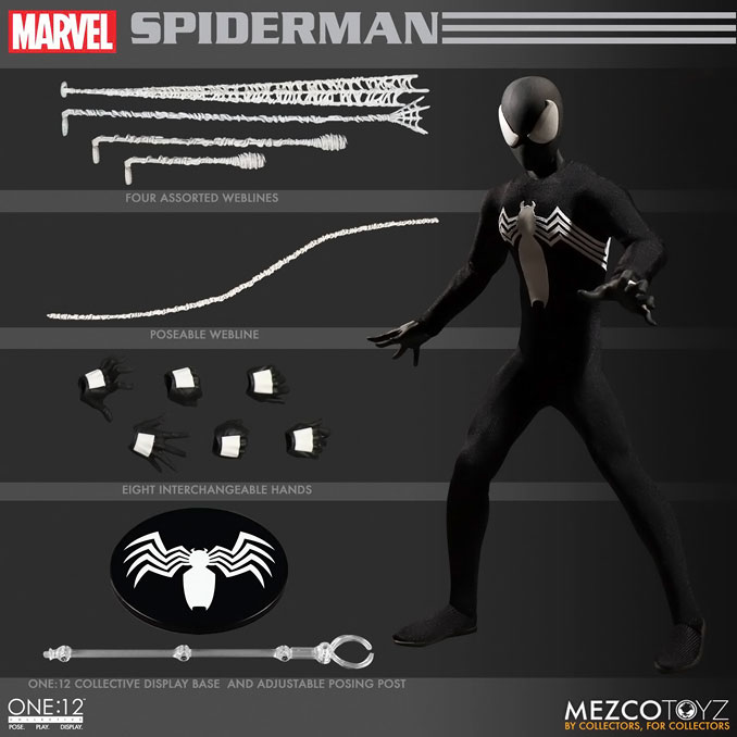 Mezco Spider-Man Black Suit One 12 Collective Action Figur