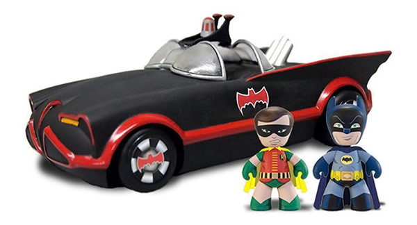 Mezco Toys 1966 Batmobile with Batman and Robin