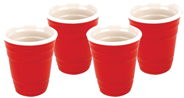 Mini Ceramic Red Cup Shot Glasses