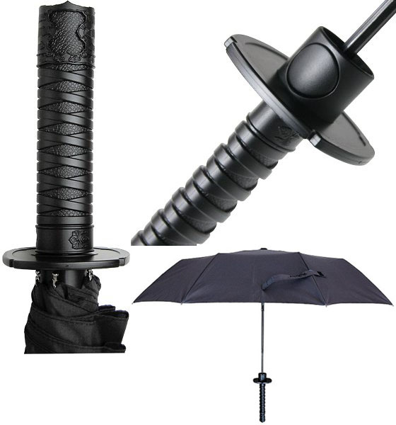 Mini Samurai Sword Black Ninja Folding Umbrella