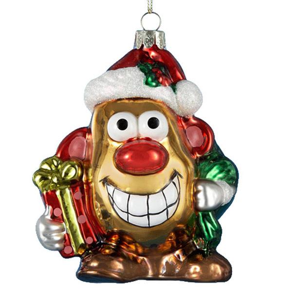 Mr Potato Head Glass Christmas Ornament