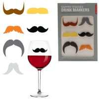 Mustache Glass Markers