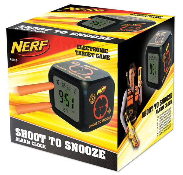 NERF Shoot to silence Alarm Clock
