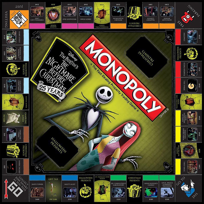 nightmare before christmas 25th anniversary monopoly board game - Nightmare Before Christmas Board Game