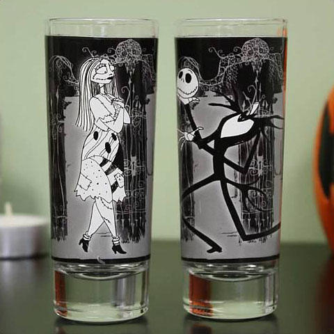 Nightmare Before Christmas Jack & Sally Shot Glasses