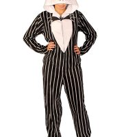 Nightmare Before Christmas Stripe Jack Footed Hooded Adult Pajamas