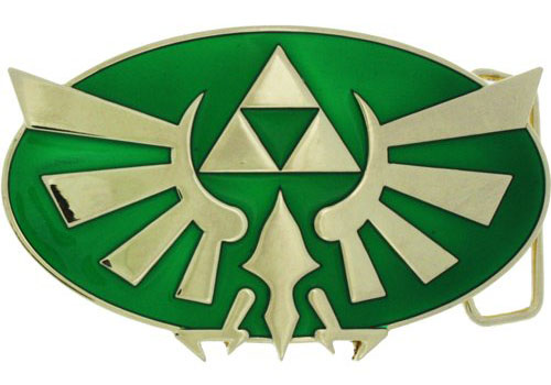 Nintendo Legend of Zelda Green Gold Triforce Belt Buckle