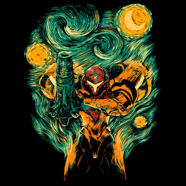 Nintendo Metroid Starry Night Mashup T-Shirt