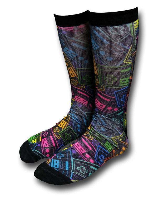 Nintendo Neon Controllers Crew Socks