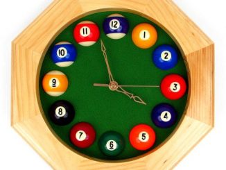 Octagonal Wood Billiards Quartz Wall Clock