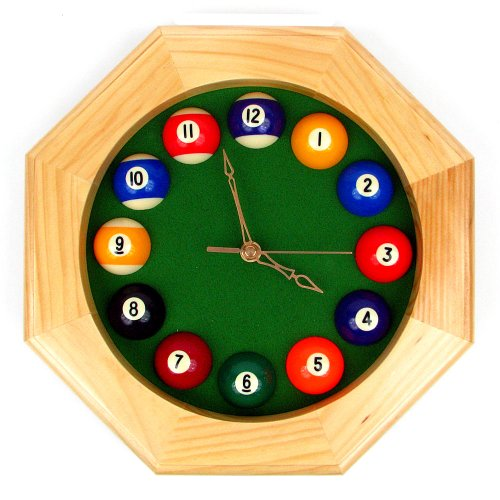 Octagonal Wood Billiards Quartz Wall Clock