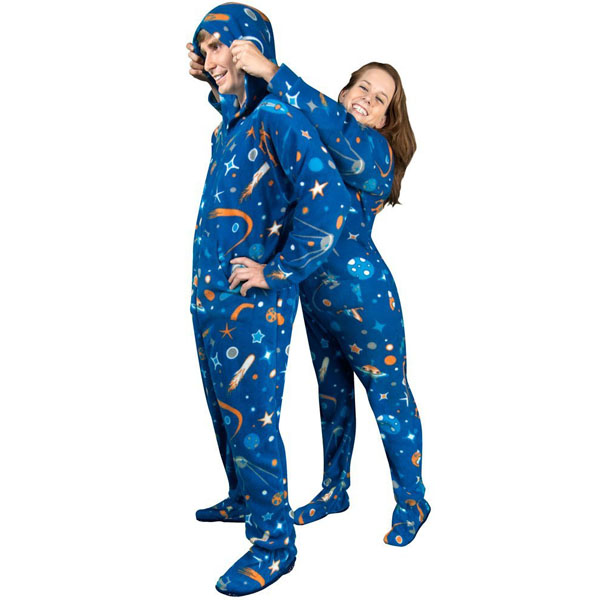 ebf07d7a76 Outer Space Print Fleece Hooded Footie Pajamas